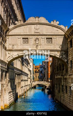 Looking from Bridge of Sighs to canal behind Doge's Palace, Venice, Italy. - Stock Photo