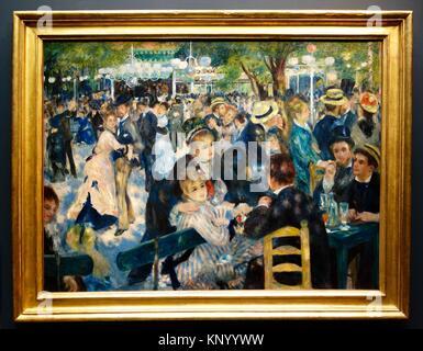 Bal du moulin de la Galette. 1876. Pierre Auguste Renoir. Orsay Museum. Paris. France. Europe. - Stock Photo