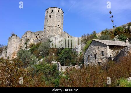 View of the castle of Pocitelj, Capljina, Bosnia and Herzegovina. - Stock Photo