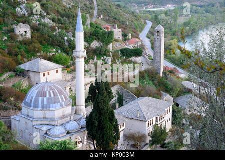 Dadzi-Alija mosque and Neretva river in Pocitelj, Capljina, Bosnia and Herzegovina - Stock Photo