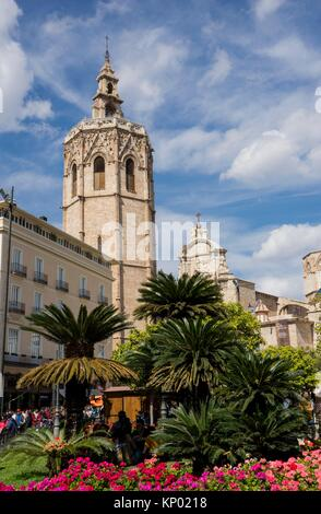 Miguelete, bell tower of the cathedral, Valencia, Spain - Stock Photo