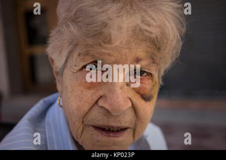 Battered woman, Old woman, Spain - Stock Photo