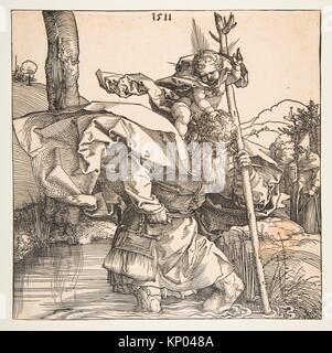 Saint Christopher. Artist: Albrecht Dürer (German, Nuremberg 1471-1528 Nuremberg); Date: 1511; Medium: Woodcut; - Stock Photo