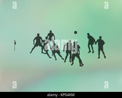 mixed media silhouettes of football soccer players playing a game on green abstract background illustration stock