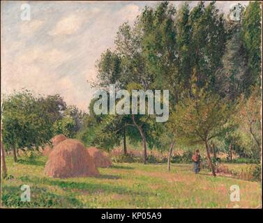 Haystacks, Morning, Éragny. Artist: Camille Pissarro (French, Charlotte Amalie, Saint Thomas 1830-1903 Paris); Date: - Stock Photo