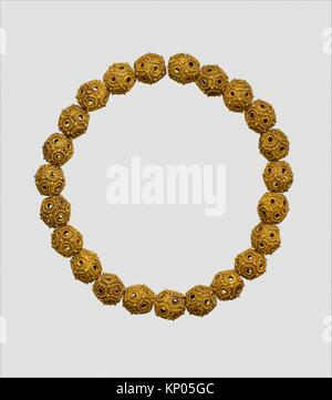 Necklace. Date: 11th-12th century; Geography: Attributed to Iran; Medium: Gold sheet; granulation, twisted wire; - Stock Photo