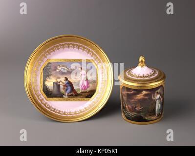Covered cup and saucer. Artist: Anton Kothgasser (Austrian, 1769-1851); Date: ca. 1800; Medium: Hard-paste porcelain; - Stock Photo