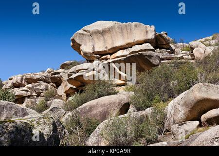 The Tranco cliffs in the Pedriza. Regional Park del Ato Manzanares. Manzanares el Real. Madrid. Spain. Europe. - Stock Photo