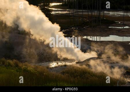 Black Growler Steam Vent at Norris Geyser Basin, Yellowstone National Park, Wyoming. - Stock Photo