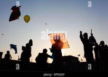 Shakrain Festival also known as Kite festival is an annual celebration of winter in Bangladesh, observed with - Stock Photo