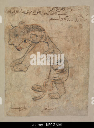 Hare , Folio from the Mantiq al-wahsh (Speech of the Wild Animal) of Ka'b al-Ahbar MET DP234073 Hare , Folio from - Stock Photo