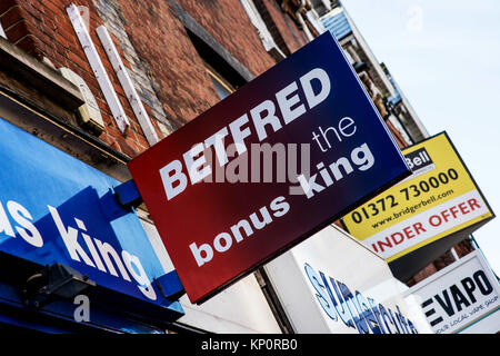 Betfred High Street Betting Shop Outlet Signboard - Stock Photo