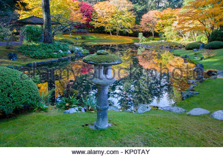 Stone lantern and pond, Nitobe Memorial Garden, a traditional Stock ...