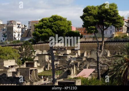 Ercolano (Italy). Archaeological site of the Roman ruins of Herculaneum. - Stock Photo
