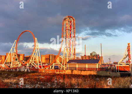 Brooklyn, New York - Dec 10, 2017: Thunderbolt Rollercoaster in Coney Island, Brooklyn, New York City at sunset. - Stock Photo