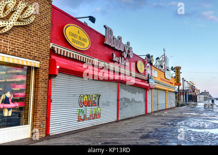 New York City - December 10, 2017: Closed stores along the boardwalk in Coney Island in the winter.