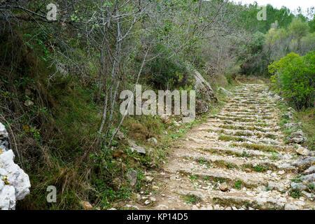 Mountain path in carboniferous limestone landscape, near Benimaurell, Vall de Laguar, Marina Alta, Alicante, Spain - Stock Photo