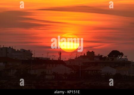 Silhouette of the apartments of San Pedro del Pinatar in the pueta of the sun, Murcia, Spain - Stock Photo