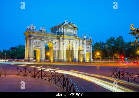 Alcala Gate, night view. Madrid, Spain. - Stock Photo