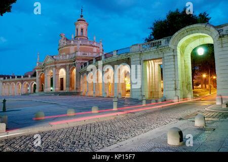 San Antonio church, night view. Aranjuez. Madrid province. Spain. - Stock Photo