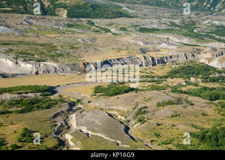 Toutle River valley, Spirit Lake Memorial Highway, Mt St Helens National Volcanic Monument, Washington. - Stock Photo