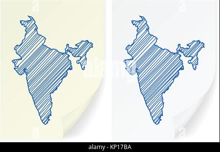 India scribble map on a white background. - Stock Photo