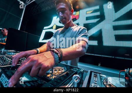 DJ Joey Dale at music festival Starbeach in Hersonissos, Crete, Greece, on 25. August 2017 - Stock Photo