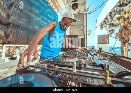 DJ DebK at music festival Starbeach in Hersonissos, Crete, Greece, on 25. August 2017 - Stock Photo