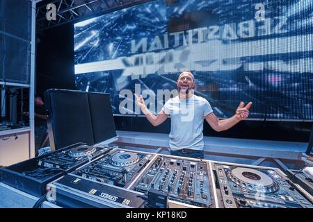 DJ Sebastian Bronk at music festival Starbeach Lovestar Neon in Hersonissos, Crete, Greece, on 23. August 2017 - Stock Photo