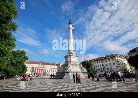 column statue square National theater Dona Maria Rossio Lisbon Portugal. - Stock Photo