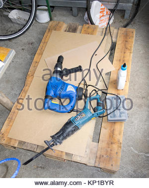 Europe, Germany, Bavaria, View Of Hammer Drill And Saw - Stock Photo