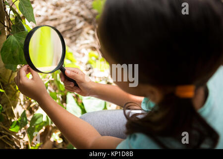 Little girl exploring nature through magnifying glass in the forest - Stock Photo
