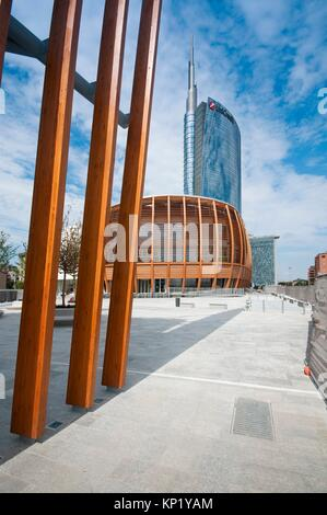Italy, Lombardy, Milan, Gae Aulenti Square, UniCredit Pavilion by the Architect Michele De Lucchi. - Stock Photo