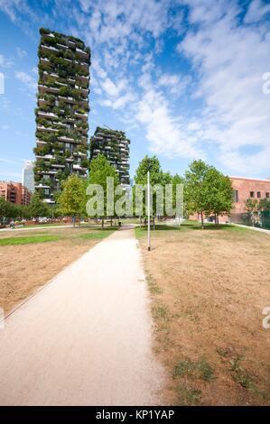 Italy, Lombardy, Milan, Bosco Verticale Residential Towers 111 Meters 78 Meters designed Boeri Studio Porta Nuova - Stock Photo