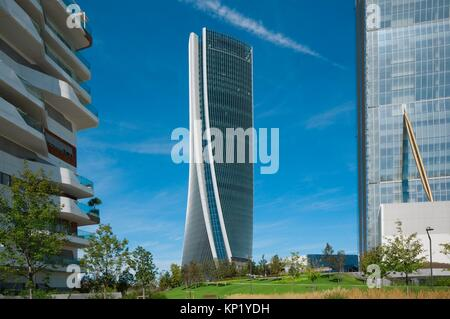 Italy, Lombardy, Milan, CityLife, Hadid Tower designed by Zaha Hadid Architect. - Stock Photo