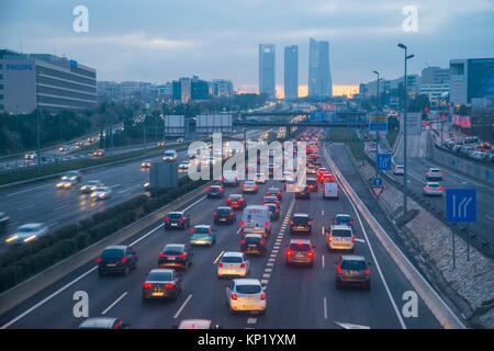 Traffic jam in A1 highway at evening. Sanchinarro, Madrid, Spain. - Stock Photo