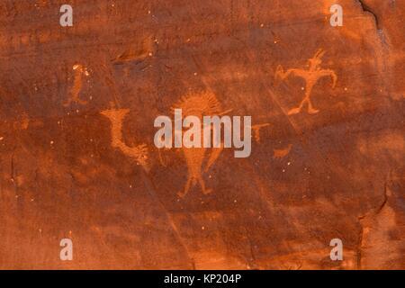 Petroglyphs at Utah Highway 279 Rock Art Site, Potash-Lower Colorado River Scenic Byway, Grand County, Utah. - Stock Photo