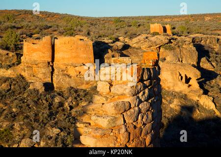 Twin Towers with Rim Rock House from Stronghold House, Hovenweep National Monument, Utah. - Stock Photo