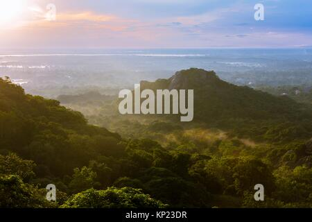 Landscape view from the top of Mihintale Mountain, Anuradhapura District, North Central Province, Sri Lanka, Asia. - Stock Photo