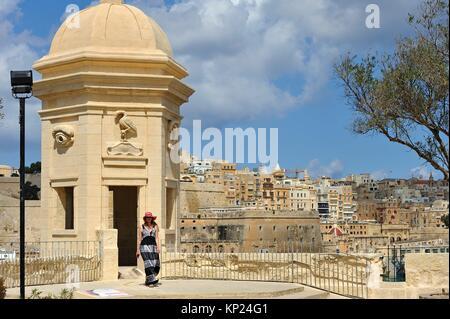 The Gardjola at Senglea (Isla), Three Cities in front of Valletta, Malta, Southern Europe. - Stock Photo