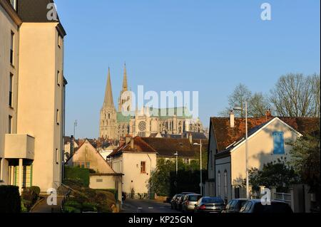 Street of Faubourg Guillaume with the Cathedral in the background, Chartres, Eure-et-Loir department, Centre-Val - Stock Photo