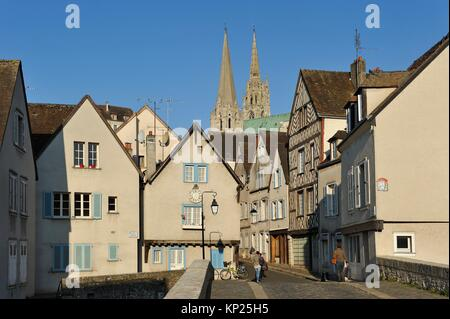 Bouju bridge and Bourg street with spires of the Cathedral in the background, Chartres, Eure-et-Loir department, - Stock Photo