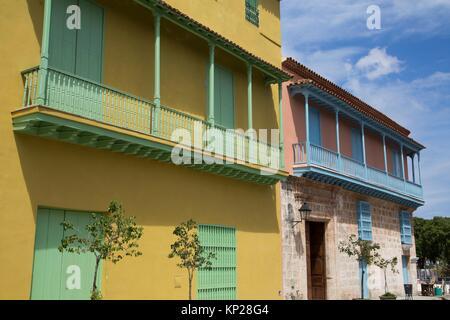 Colorful Buildings, La Habana Vieja, UNESCO World Heritage Site, Havana, Cuba - Stock Photo