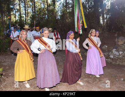 Annual Pilgrimage of Las Hayas Virgin in La Guancha municipality. Tenerife, Canary Islands, Spain - Stock Photo
