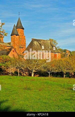 Eglise Saint-Pierre, Collonges-la-Rouge, Correze Department, Limosin, France. - Stock Photo