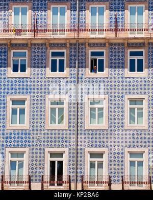 Typical old houses with tiles, Rua da Alfandega near cathedral Se de Lisboa, Alfama district, Lisbon, Portugal, - Stock Photo