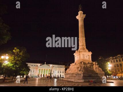 National Theatre Dona Maria II, Column of Pedro IV, Rossio Square or Pedro IV Square, Lisbon, Portugal, Europe. - Stock Photo