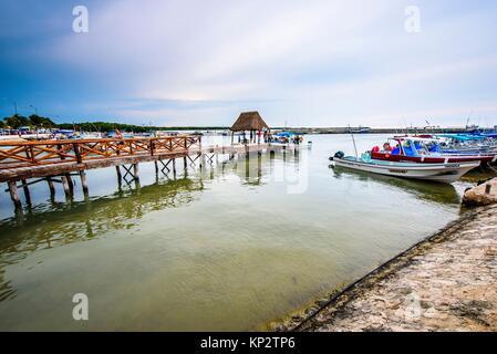 Chiquila dock in Quintana Roo, Mexico. - Stock Photo