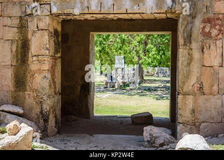 Door of Casa de las Tortugas, House of Turtles, ancient Mayan city of Uxmal, Yucatan, Mexico. - Stock Photo