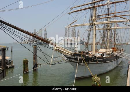 tall ship Elissa (1877), a three-masted barque moored in the port of Galveston, Galveston island, Gulf of Mexico, - Stock Photo
